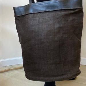 🛍 R & Y Augousti Paris Coated Linen Tote Bag